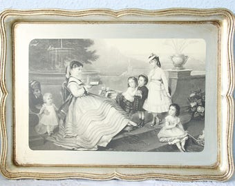 Rare Vintage Sezzatini Italian Florentine Wooden Serving Tray, Women and Children Scene, Gilded Base, Hand Painted