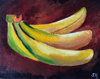 Bananas Painted In Acrylic 5X7 Canvas Board | Fruit | Still Life | Kitchen Painting | Country Decor | Eating Area | Nursery Ideas | Relaxing
