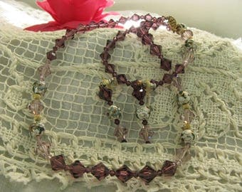 Necklace Set ~~Elegant  Amethyst Crystal and Cloisonne Beaded Necklace and Earrings Set ~~ Vintage Crystal Necklace