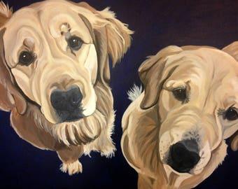 Mulitple Pet Portrait, Custom Pet Portrait, 2 Pets, Pet Portrait, Dog Portrait, Dog Painting, Hand Painted, in Acrylics, From Photograph