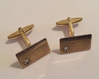 Stylish c1960s Pair of Gold on Silver Cufflinks with 20mm x 12mm top.