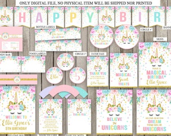 Unicorn Package, Unicorn Birthday Party Package, Magical Unicorn Package Printable, Unicorn Package Personalized,Rainbow Party, DIGITAL FILE