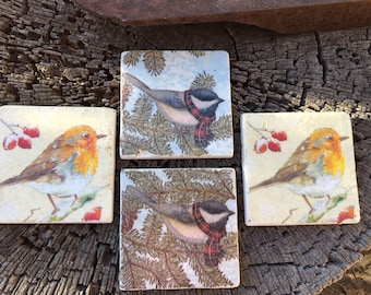 Coaster Set-Bird Coaster Set-Travertine tiles-Housewarming gift-Bird Coaster set-Farmhouse Decor-Wedding gift