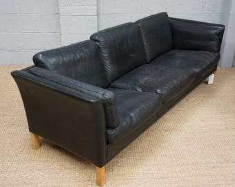 Vintage Danish Black Leather Sofa