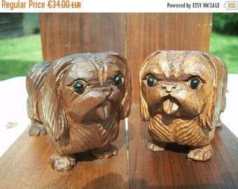 ON SALE Bookends//Wood Bookends//Vintage Bookends//Wooden Book Ends//Book Ends//Pekingese Dogs//Found And Flogged