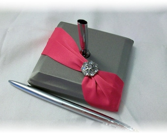 Pewter and Fuchsia Pink Wedding Guest Pen Set- Diagonal, Silver Guest Pen, Gray Guest Pen, Pink Guest Pen, Fuchsia Guest Pen