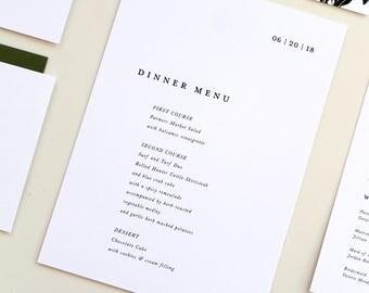 Simple Modern Menu Design, Modern Wedding Menu, Serif font menu design, wedding menu, event menu, custom wedding menu, modern design