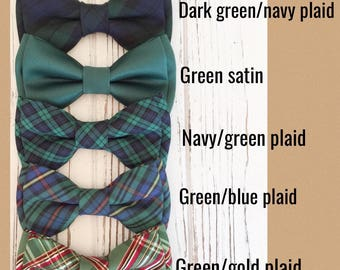 Navy green plaid bowtie -daddy and son bowties-navy plaid bow tie-holiday bowties- green and navy check bowtie-dog bowtie- hunter green bow