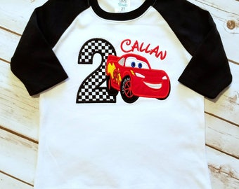 Lightning McQueen birthday shirt. Can do any age for boy or girl