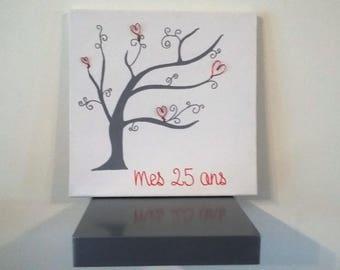 "fingerprint tree anniversary guest book ""25"""