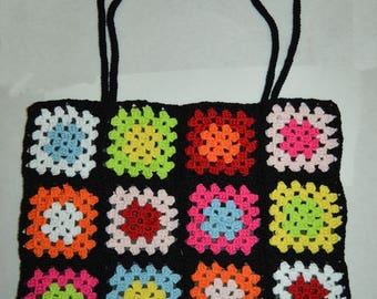 colorful black shoulder bag