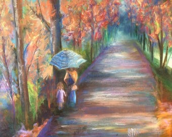 "Original Oil & Pastel Painting Fall Scenery Landscape Figures Walking Path Colorful Autumn 18""X24"""