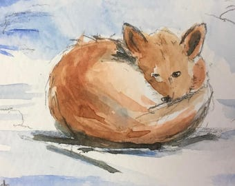 Fox ORIGINAL Miniature Watercolour ACEO 'Fox resting in Snow' Wildlife, Snow, For him,For her,Home Decor Wall Art Gift Idea, Free shipping