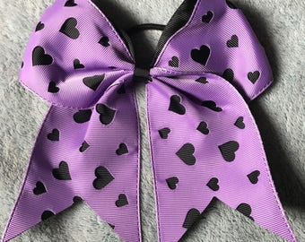 Layered Purple and Black Heart Cut Out Cheer Hair Bow