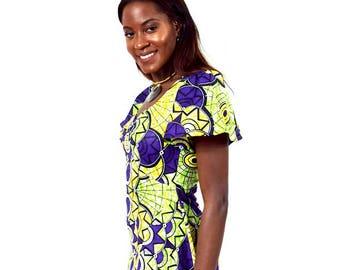 Purple and Yellow Bell Sleeve Ankara Dress, Short Cotton Dress, Ladies' Summer Dress, African Wax Dress - Made to Order