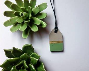 Concrete necklace Gold Green