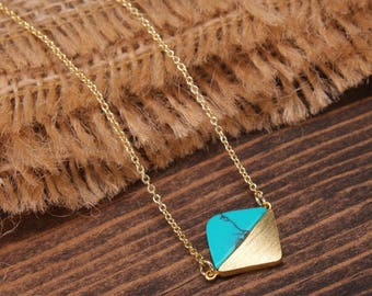 Geometric Necklace, Diamond Shape Necklace, Gemstone Necklace, Turquoise Necklace, Gold Necklace, Minimalist Necklace BN708G3-GR