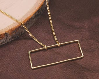 Open Gold Rectangle Necklace, Statement Necklace, Geometric Necklace, Simple Necklace, Everyday Necklace BN820-G1