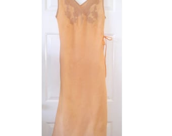 Vintage 1930s Long Pink Night Gown Lace S/M