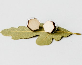 Simple Hexagon Wood Stud Earrings, Geometric Laser Cut Wood Earrings, Minimalist Studs, Men Earrings, Hipster Earrings, Women Earrings