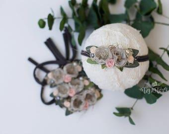 charcoal grey and peach headband