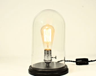 Bare Bulb Table Light, Black, Table Lamp, Bell Jar