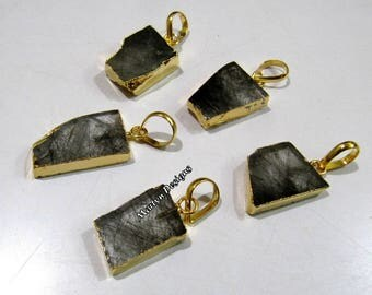 SALE- Natural Black Rutilated Quartz Slice Pendant Free Form , Connector Charm With Gold Electroplated Edge , Single Loop 1 inches approx.