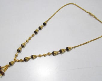 Beautiful Rhodolite Garnet Color Beaded Necklace  , 18 inches Long Gold Plated Jewelry , Traditional Indian Rosary Necklace, Fashion Jewelry