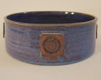 Blue stoneware casserole
