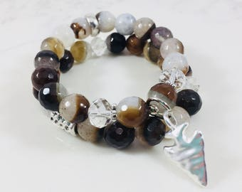 """Set of 2 """"Rachel"""" agate beaded bracelets with silver arrowhead charm // Fast and free shipping"""