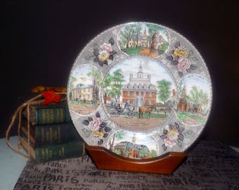 Almost antique (c.1920s) Adams China | Jonroth hand-decorated dinner | souvenir plate. Governors Palace, VA. Old English Staffordshire Ware.