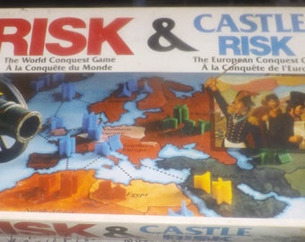 Vintage (c.1992) Risk and Castle Risk: 2 board games in one. Published by Hasbro | Parker Brothers. Incomplete (see below).