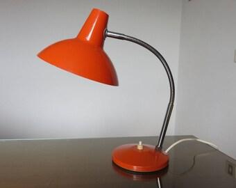 typical orange metal lamp lamp orange french vintage 1970's 70's
