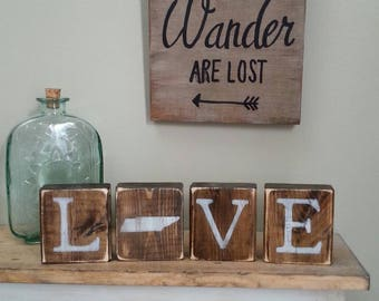 Rustic Tennessee Blocks, REVERSIBLE, Tennessee Love, Tennessee Home, Tennessee Sign, Tennessee, TN Love, TN Home, Rustic Decor, 3.5x14