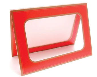 Red Card Holder (with Gold-Colored Trim)--Insert Your Own Homemade Greeting Card Artwork--Pkg of 25