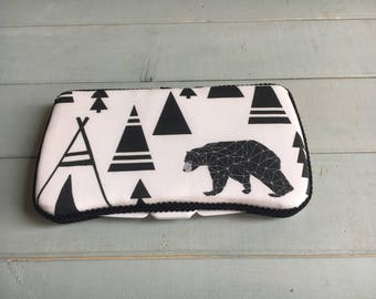 Bear and Teepee, Wipe Case, Wipes Case, Baby Wipe Case, Baby Wipes Case, Wipes Holder, Travel Wipes Case, Diaper Bag, Baby Gift, Baby Shower