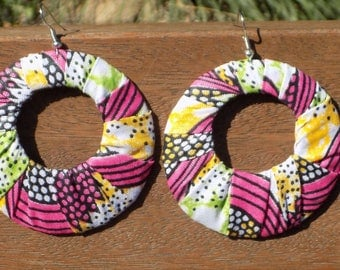 Attractive finery earrings and ring multicolor fabric