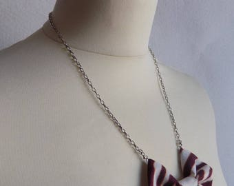 Chain knot necklace brown beige wax fabric