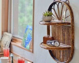 Vintage Bamboo Shelf// Rattan Home Decor// Bamboo Wall Shelf// Vintage Home Decor// Wall Decor// Bamboo Decor/ Rattan