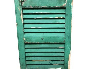 Vintage GREEN WOOD SHUTTER Louvered architectural salvage exterior shabby wooden farm house wall hanging barn repurposing green chippy paint