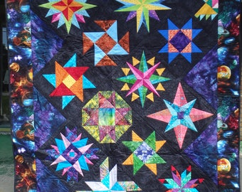 double size quilt, homemade quilt, star quilt, blue quilt, black quilt, blue and black quilt