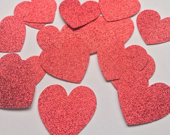 Hearts cut outs/ Die cut/ Valentine's Day decoration/ Glitter hearts/ Valentine's Day paper confetti/ Red glitter hearts cutout- 15 pcs