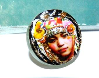 Round portrait woman multicolor Tibet silver Bohemian ring - woman Portrait Art-multicolored-unique