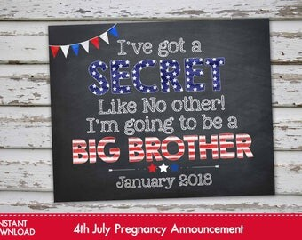 Fourth of July Big Brother Announcement Chalkboard Poster, 4th of July Pregnancy Reveal, July 4th Big Brother Announcement JANUARY 2018