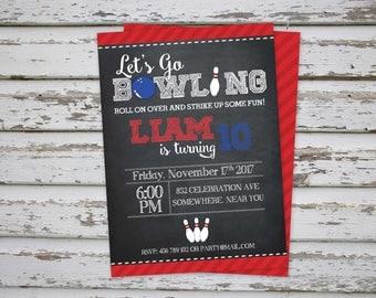 Bowling Birthday Party Invitation, Digital Printable Bowling Invite, DIY Bowling Party Invitation, Sports Invite, Bowling Party DIGITAL FILE