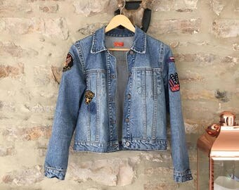 California Dreamin' Vintage 70s Denim Jacket with Patches & Slogan UK Size 8 Seventies Western Festival