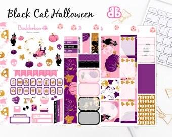 Black Cat Halloween | Planner Stickers | Weekly planner sticker set | Halloween sticker set