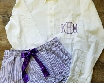 BRIDESMAIDS Oversized Monogrammed Button Down Shirts and Boxer Set,Bridal Oxford Set, Bridal Oxford and Boxer Set, Oxford and Boxer Set