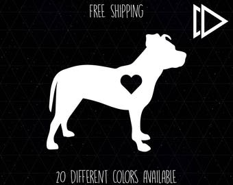Pitbull Dog Heart Decal