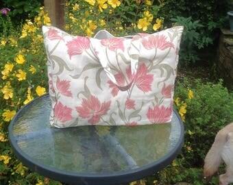 Large tote, beach tote, pink bag, bag for life, shopping bag, holiday bag